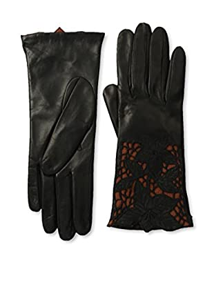 Portolano Women's Leather Gloves with Floral Laser Cut Cuff (Black/Toast)