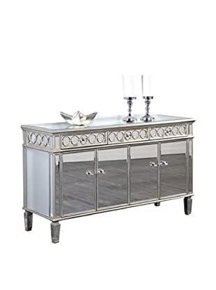 Audrey 4-Door Mirrored Cabinet, Silver Leaf