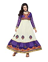 White georgette anarkali party wear suit with embroidered work and chiffon dupatta