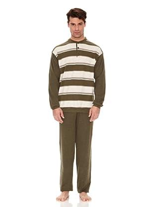 Basket Pijama Camiseta y Pantalón Rayas (Verde)