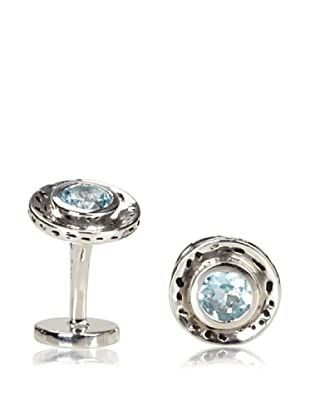 Rotenier Blue Topaz Hammered Circle Cufflinks, Antiqued Silver