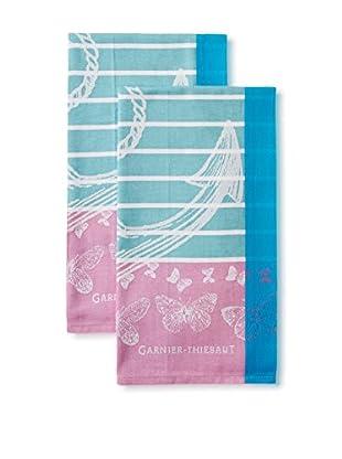 Garnier-Thiebaut Set of 2 Ancre Kitchen Towels, Azur