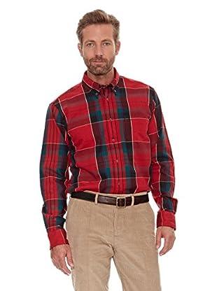 Cortefiel Camisa Franela (Rojo)