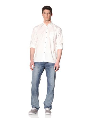 Earnest Sewn Men's Long Sleeve Button-Up Shirt (White)