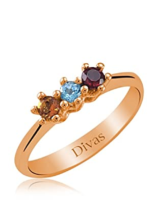 Divas Diamond Anillo Piedras Preciosas Coloridas Tria