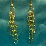 Golden dangling earrings- handmade