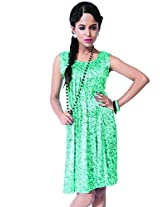 Garden Vareli Womens Crepe Column Dress (Gardenvareli Western Dress 1024-A _Green _Medium)