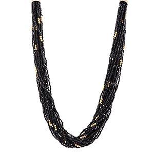 The Crazy Neck Black Beads Multi Layered Neck Piece Necklace