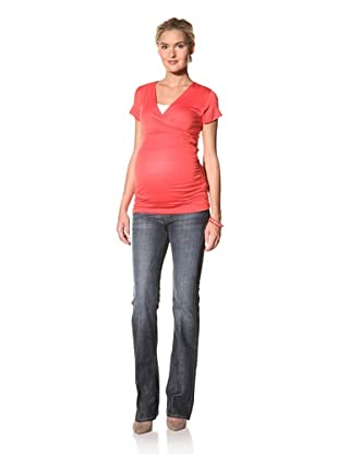 Lilac Maternity Michelle Short Sleeve Top (Coral)