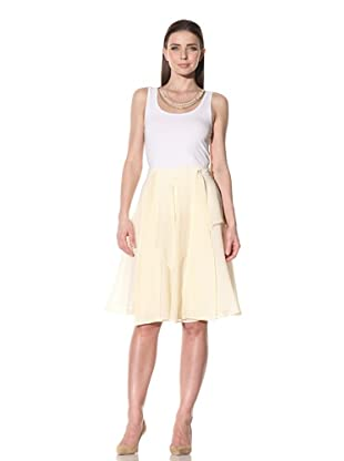 Luca Luca Women's Jessi Tiered Silk Skirt with Removable Waist Tie (Yellow)