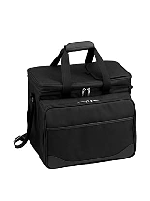 Picnic at Ascot London Picnic Cooler for 4 with Removable Wheeled Cart (Black)