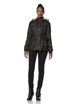 Buffalo David Bitton Women's Belted Jacket with Faux Fur Trim (Black)