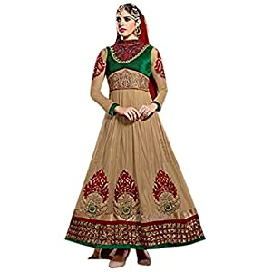 Bhuwal Fashion Beige Green Faux Georgette Long Anarkali Salwar Suit