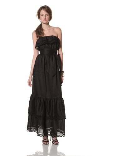 COLLETTE BY COLLETTE DINNIGAN Women's Cutout Embroidered Maxi Dress (Black)