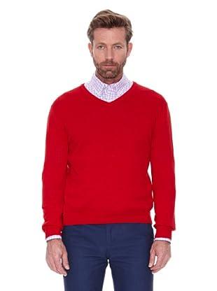 Cortefiel Jersey Cuello Pico Algodón (Rojo)