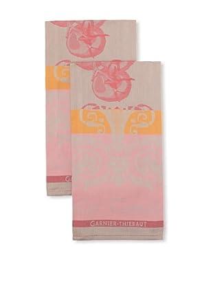 Garnier-Thiebaut Set of 2 Les Tomates Rose Kitchen Towels