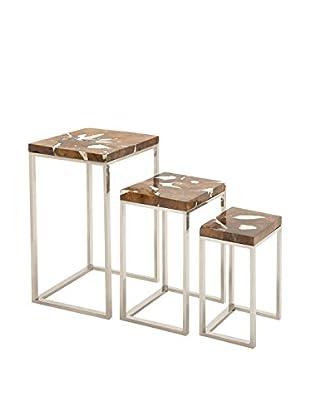 Set of 3 Metal & Teak Nesting Tables, Brown