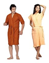 Sand Dune Rust Peach Terry Men And Women Bathrobes