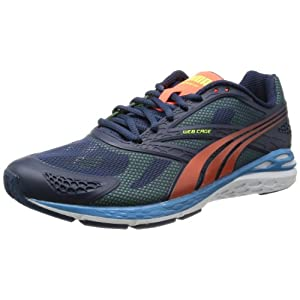 Puma Men's Bioweb Speed Insignia Blue, Peach and Yellow Fabric Running Shoes - 10UK/India (44.5EU)
