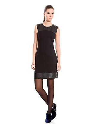Cortefiel Vestido Poli piel (Negro)