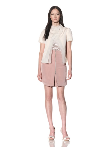 Bibhu Mohapatra Women's Short Sleeve Jacket with Pleated Inset (Rosewater)