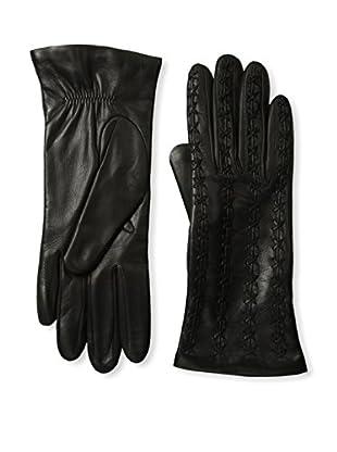 Portolano Women's Stitched Top Leather Gloves (Black)