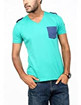 Paani Puri Men's V-Neck T-Shirt (MV20EP13S_Light Green_Small)