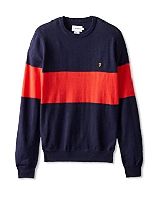 Farah Men's The Elston Striped Crew Neck Sweater