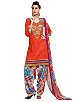 Inddus Women Orange Embroidered Cotton Blend Dress Material