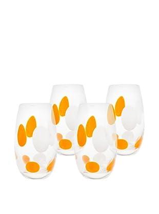 Cloud Highball Hand-Crafted Glass, Orange, Set of 4