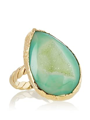 Dara Ettinger Hillary Small Dyed Agate Adjustable Cabochon Ring, Green