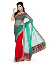De Marca Women Red Chiffon Casual Saree