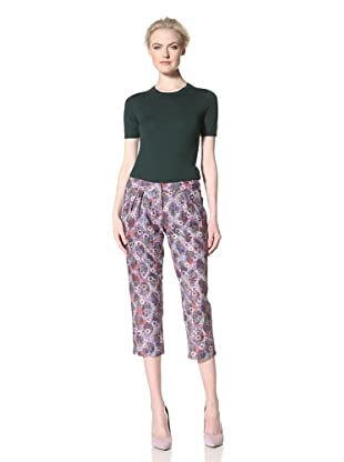 GREGORY PARKINSON Women's Printed Corded Lace Crop Trouser (Frosted Flowers)