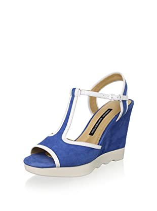French Connection Women's Jackie Sandal (Truest Blue/White)