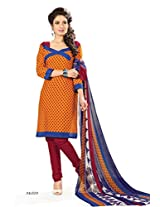 BanoRani Womens Haldi Yellow & Dark Red Color PolyCotton Unstitched Dress Material