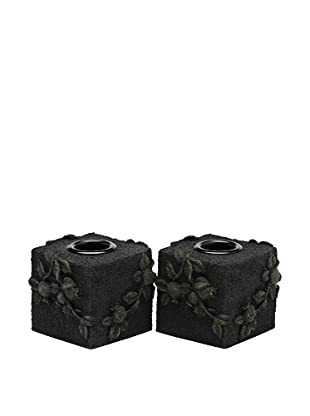Legacy Judaica Set of 2 Black Lava Figs Candle Holders