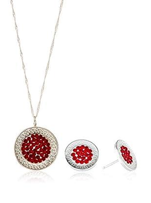 Silver One Conjunto de cadena, colgante y pendientes Greca Rubí