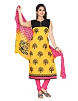 Charu Boutique Women's Silk Embroidered Straight Stitched Churidar Suit(Black Yellow Pink_M Size)