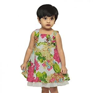 Pixi Girls 'A' Line Dress in a Whimsical Floral Print