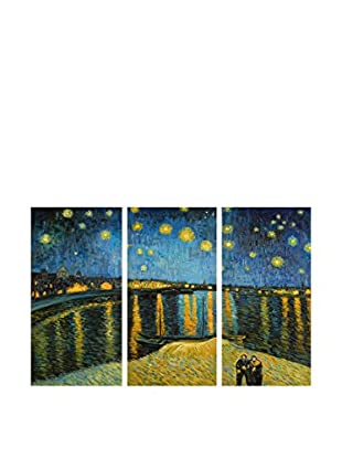 Arte dal Mondo  Wandbild 3er Set Van Gogh Notte Stellata Sulla Rhona