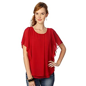 Half Sleeves Ruffled Style Red Colored Scarlett Top by People