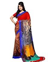 Yomeeto Georgette Fabric Red Coloured Printed Saree