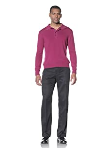 Cruciani Men's Mockneck with Buttons (Burgundy)