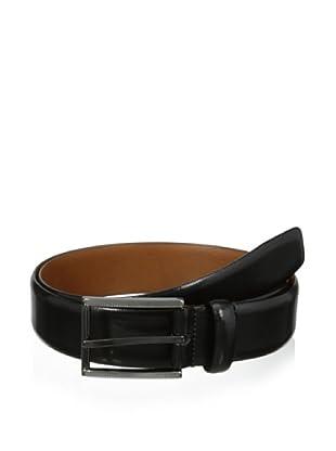 J.Campbell Los Angeles Men's Textured Gunmetal Buckle Leather Belt (Black)