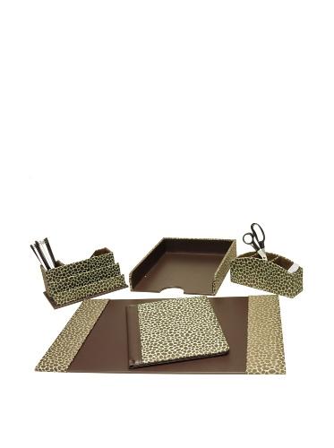 Homessence Grecco Desktop Set, Teal/Brown