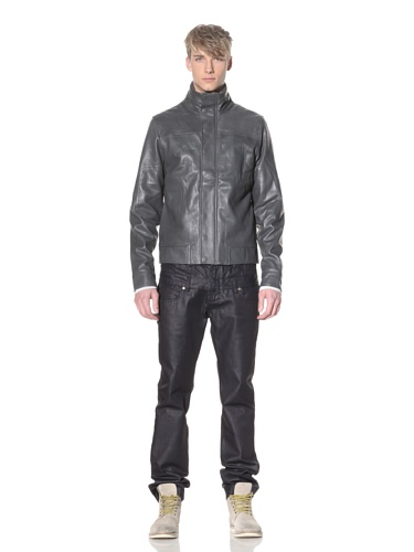 i.am Men's Leather Stand Collar Jacket (Charcoal)