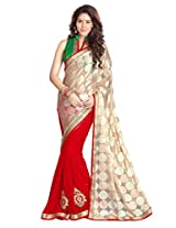 Sourbh Synthetic Patch Work Saree (6904 _Beige,Red)