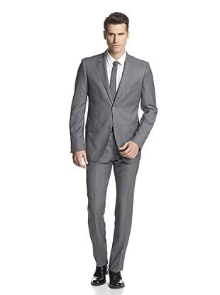 Calvin Klein Collection Men's Hudson Two Button Suit (White Grey)