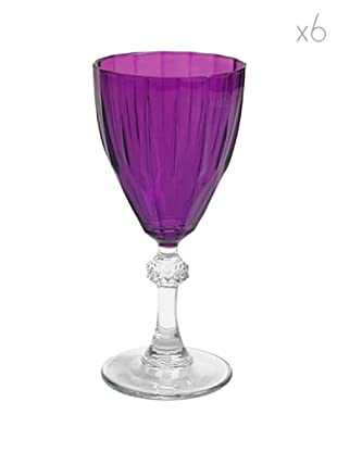 Pasabahce Set 6 Calici Diamond Acqua Viola