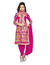 Clickedia Womens Faux Georgette Pathan Suit Salwar Suit (Pink Jacket Style_Pink & Gold)